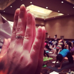 A YogaFit Canada volunteer lending her hands for this shot.