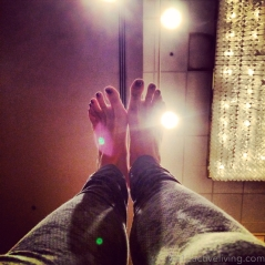 Shining toes and happy feet.
