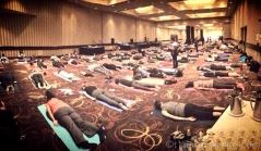 This is the largest yoga class I've ever attended. The vibe was so positive and energetic.