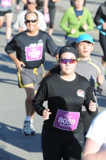 Mallory in the middle of her 10K race last year. She raised money for JDRF.