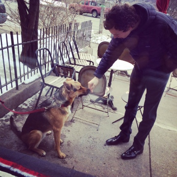 Day 1: It's day 1 of my #100happydays challenge. This made me smile and as I stared out the window from the cafe, I thought, this makes me so happy! Quite a few people would tie their dogs up outside and run in to grab a coffee. Strangers of all kinds came up to pet the dogs. Smiles were created quickly. There's dog treats inside the cafe and dog bowls and mats outside. Animals of all kinds make me happy and today I got to see so many four legged furry friends.