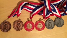Some of Mallory's medals from Canadian Age Championships and North American Age Championships.