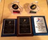 Top two awards are gold and bronze from Alberta provincials. The bottom 3 are awards from Mallory's Calgary club.
