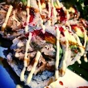 Soft shell crab, avocado, fish roe and Japanese mayo